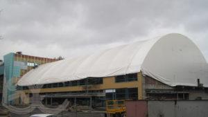 Возведение купола теннисного центра на ул. Зорге, 75
